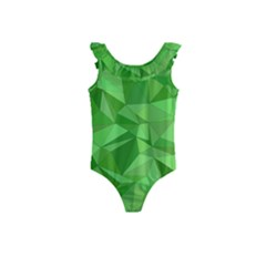 Mosaic Tile Geometrical Abstract Kids  Frill Swimsuit