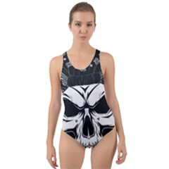 Kerchief Human Skull Cut Out Back One Piece Swimsuit
