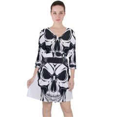 Kerchief Human Skull Ruffle Dress by Mariart