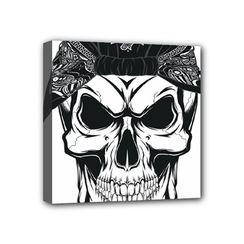 Kerchief Human Skull Mini Canvas 4  X 4  (stretched) by Mariart