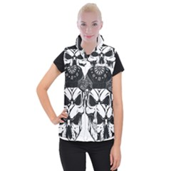 Kerchief Human Skull Women s Button Up Vest by Mariart