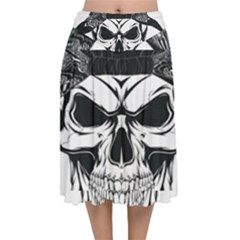 Kerchief Human Skull Velvet Flared Midi Skirt by Mariart