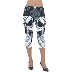 Kerchief Human Skull Lightweight Velour Capri Leggings  by Mariart