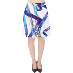 Metal Triangle Velvet High Waist Skirt by Mariart