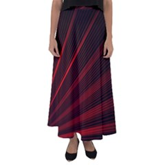 Line Geometric Red Object Tinker Flared Maxi Skirt