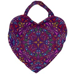 Kaleidoscope Triangle Pattern Giant Heart Shaped Tote