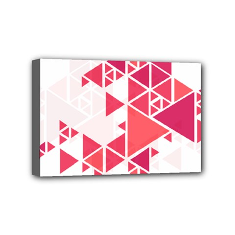 Red Triangle Pattern Mini Canvas 6  X 4  (stretched)