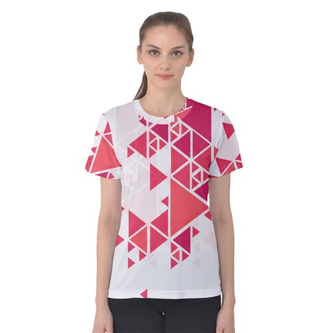 Red Triangle Pattern Women s Cotton Tee by Mariart