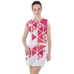 Red Triangle Pattern Drawstring Hooded Dress