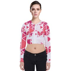 Red Triangle Pattern Long Sleeve Zip Up Bomber Jacket by Mariart