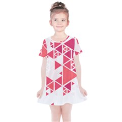 Red Triangle Pattern Kids  Simple Cotton Dress