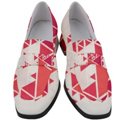 Red Triangle Pattern Women s Chunky Heel Loafers by Mariart