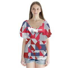 Technology Triangle V Neck Flutter Sleeve Top