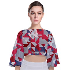 Technology Triangle Tie Back Butterfly Sleeve Chiffon Top