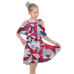Technology Triangle Kids  Shoulder Cutout Chiffon Dress