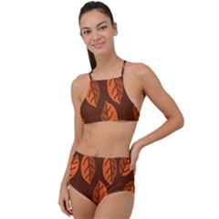 Pattern Leaf Plant High Waist Tankini Set by Mariart