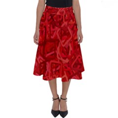Red Pattern Technology Background Perfect Length Midi Skirt