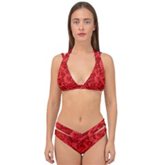 Red Pattern Technology Background Double Strap Halter Bikini Set by Mariart