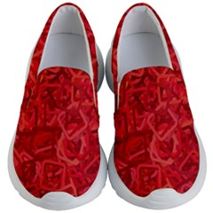 Red Pattern Technology Background Kids  Lightweight Slip Ons