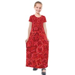Red Pattern Technology Background Kids  Short Sleeve Maxi Dress