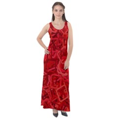 Red Pattern Technology Background Sleeveless Velour Maxi Dress