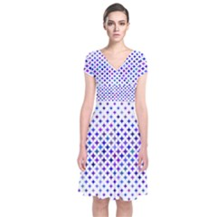 Star Curved Background Geometric Short Sleeve Front Wrap Dress
