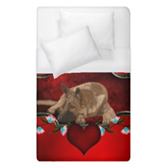 Wonderful German Shepherd With Heart And Flowers Duvet Cover (single Size) by FantasyWorld7