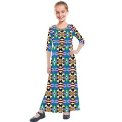 Ml 34 Kids  Quarter Sleeve Maxi Dress by ArtworkByPatrick