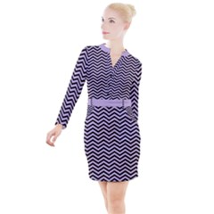 Chevron  Effect  Button Long Sleeve Dress