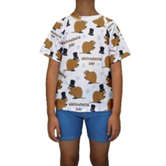 Groundhog Day Pattern Kids  Short Sleeve Swimwear
