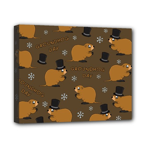 Groundhog Day Pattern Canvas 10  X 8  (stretched)