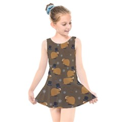 Groundhog Day Pattern Kids  Skater Dress Swimsuit by Valentinaart