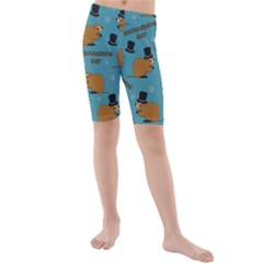 Groundhog Day Pattern Kids  Mid Length Swim Shorts