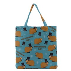 Groundhog Day Pattern Grocery Tote Bag