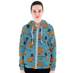 Groundhog Day Pattern Women s Zipper Hoodie