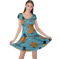 Groundhog Day Pattern Cap Sleeve Dress