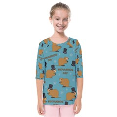 Groundhog Day Pattern Kids  Quarter Sleeve Raglan Tee