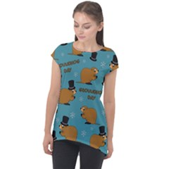 Groundhog Day Pattern Cap Sleeve High Low Top