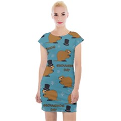 Groundhog Day Pattern Cap Sleeve Bodycon Dress