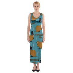 Groundhog Day Pattern Fitted Maxi Dress