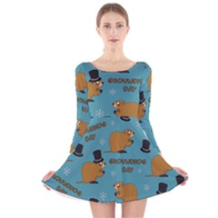 Groundhog Day Pattern Long Sleeve Velvet Skater Dress