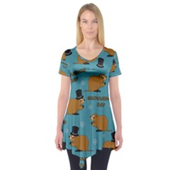 Groundhog Day Pattern Short Sleeve Tunic