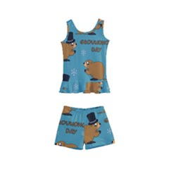 Groundhog Day Pattern Kids  Boyleg Swimsuit