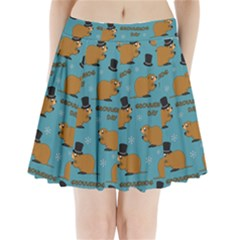 Groundhog Day Pattern Pleated Mini Skirt