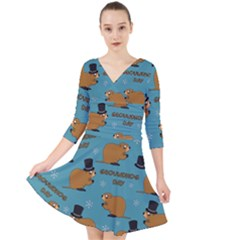 Groundhog Day Pattern Quarter Sleeve Front Wrap Dress