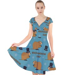 Groundhog Day Pattern Cap Sleeve Front Wrap Midi Dress