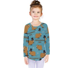 Groundhog Day Pattern Kids  Long Sleeve Tee