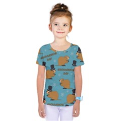 Groundhog Day Pattern Kids  One Piece Tee