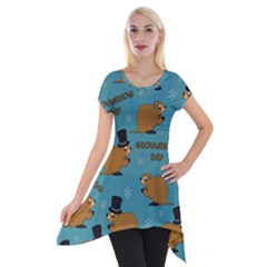 Groundhog Day Pattern Short Sleeve Side Drop Tunic