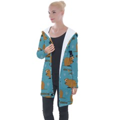 Groundhog Day Pattern Longline Hooded Cardigan